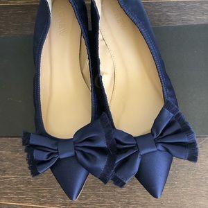 Shoes - Navy Bow satin pointy flats